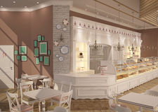3D visualization of a pastry shop interior design Stock Photo