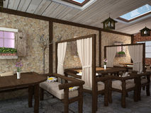 3D visualization of a restaurant interior design Royalty Free Stock Photo