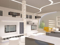 3D visualization of a showroom interior design. 3D generated image of a concept design of a furniture showroom Stock Photos