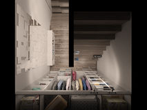 3D visualization of the wardrobe room in light tones Royalty Free Stock Photo