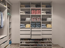 3D visualization of the wardrobe room in light tones Stock Photography