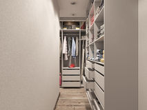 3D visualization of the wardrobe room in light tones Stock Images