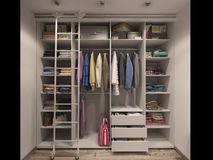 3D visualization of the wardrobe room in light tones Stock Photo