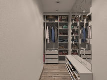 3D visualization of the wardrobe room in light tones Royalty Free Stock Images
