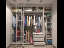 3D visualization of the wardrobe room in light tones Royalty Free Stock Image