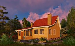 3D visualization. Evening. Wooden house among flowers. stock illustration