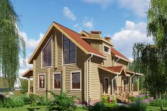 3D visualization. A wooden house by the river. royalty free stock images