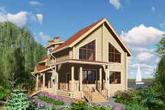 3D visualization. A wooden house by the river. royalty free stock photo