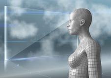 3D vit kvinnlig AI mot den glass skärmen och moln Royaltyfria Foton