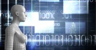 3D vit kvinnlig AI mot fönster med binär kod och signalljus Arkivfoton