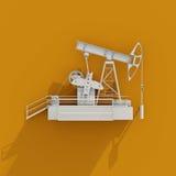 3d vit olja Rig Icon på orange bakgrund Royaltyfri Fotografi