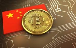 3d vlag van bitcoinchina royalty-vrije illustratie
