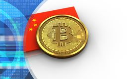 3d vlag van bitcoinchina Royalty-vrije Stock Fotografie