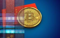 3d vlag van bitcoinchina Royalty-vrije Stock Foto's