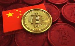 3d vlag van bitcoinchina stock illustratie