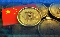 3d vlag van bitcoinchina Stock Fotografie