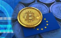3d vlag van de bitcoineu Stock Afbeelding