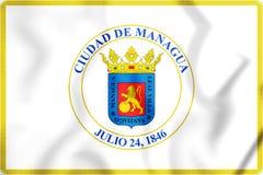 3D Vlag van Managua, Nicaragua Stock Foto