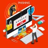 3D Vlakke Isometrische Mensen van het Phishingsconcept Stock Fotografie