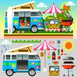 3D Vlakke Reeks van de de zomerpicknick Stock Foto