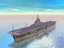 3D vliegdekschip - geef terug Royalty-vrije Stock Foto
