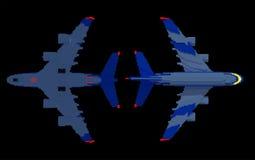 3d vliegtuigen met hun nachtlichten  Stock Foto's