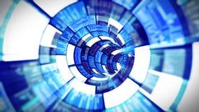 3D vlucht in de blauwe optische tunnelgegevens - verwerking stock videobeelden