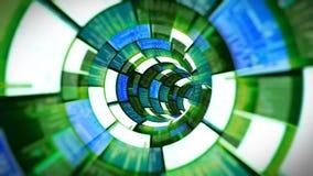 3D vlucht in groene optische tunnelgegevens - verwerking stock videobeelden