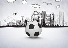 3D Voetbal met stadstekeningen op witte achtergrond Stock Afbeeldingen