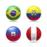 3D voetbalbal met de vlaggen van groepsb teams Stock Afbeelding