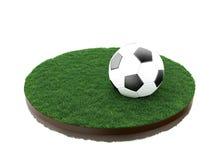 3d Voetbalbal op gebied vector illustratie