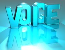 3D Voice Blue Text. Over blue background Stock Photography