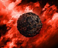 3D volcanic globe. 3D render of a volcanic globe with in a stormy sky with lightening stock illustration