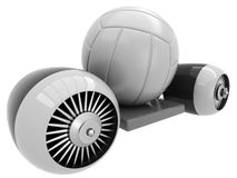 3D Volleyball on flying engine Royalty Free Stock Image