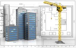 3d von Stadtgebäuden stock abbildung