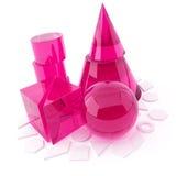 3D voorwerp van het glas op een wit Stock Afbeelding
