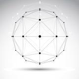 3D voorwerp van het origami abstracte netwerk, vector abstract ontwerpelement, Royalty-vrije Stock Foto