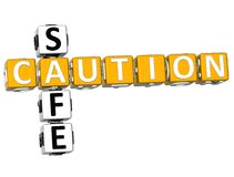 3D Voorzichtigheids Veilig Kruiswoordraadsel Stock Foto's
