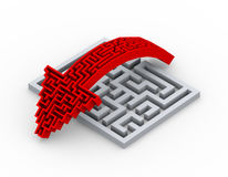 3d vorm die van de labyrintpijl over labyrintraadsel springen Stock Foto