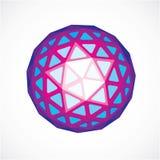 3d vorm, futuristische origami abstracte modellering Purpere vector laag Stock Afbeelding