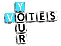 3D vos mots croisé de votes Images libres de droits