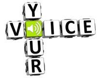 3D votre texte de bloc de mots croisé de voix Photos libres de droits