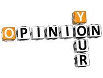 3D votre texte de mots croisé d'opinion Photos libres de droits