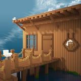 3d voxel旅馆和码头 免版税图库摄影