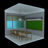 3d voxel classroom. 3d image of a classroom made in retro voxel style and isolated on black background Royalty Free Stock Photos