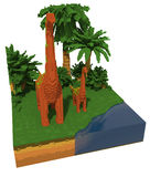 3d voxel dinosaurs Royalty Free Stock Image