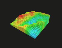 3d voxel heatmap. Colorful 3d voxel landscape. Heatmap surface made of rectangular blocks. Cubical model of futuristic game terrain. Hue data visualization Royalty Free Stock Images