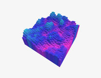 3d voxel heatmap. Colorful 3d voxel landscape. Heatmap surface made of rectangular blocks. Cubical model of futuristic game terrain. Hue data visualization Royalty Free Stock Image