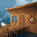 3d voxel inn and pier Royalty Free Stock Photography