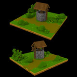 3d voxel landscape with well Royalty Free Stock Image